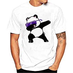 Camiseta Hombre,Longra ★ Camiseta de Cráneo Hombre Militares Camisetas Deporte Ropa Deportiva Camisa de Manga Corta de Camuflaje Slim fit Casual para Hombres Tops Blusa (Blanco6, L(Panda))