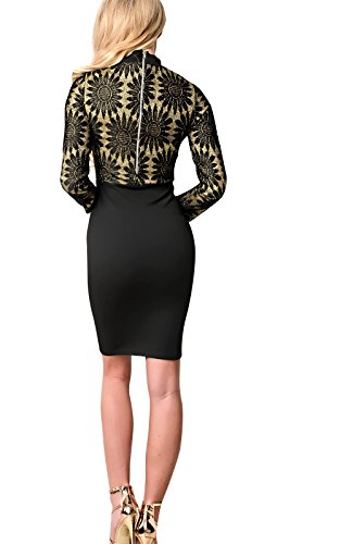 Women's Ladies Stunning Floral Bodycon Fitted Glam Party Dress Black