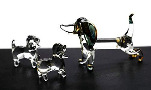 Art Glass Mini-anhänger (ChangThai Design 3 Stück Golden Dackel Hund Handschüssel Glas Puppenhaus Miniatur-Dekoration)