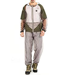 Ensemble Veste à Capuche et Pantalon Anti-moustiques Combinaison pour Pêche Chasse Camping Vert avec Gants