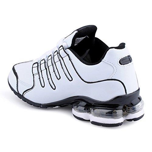 Fusskleidung Herren Damen Sneaker Sportschuhe Lauf Freizeit Neon Runners Fitness Low Unisex Schuhe Weiss/Schwarz-W