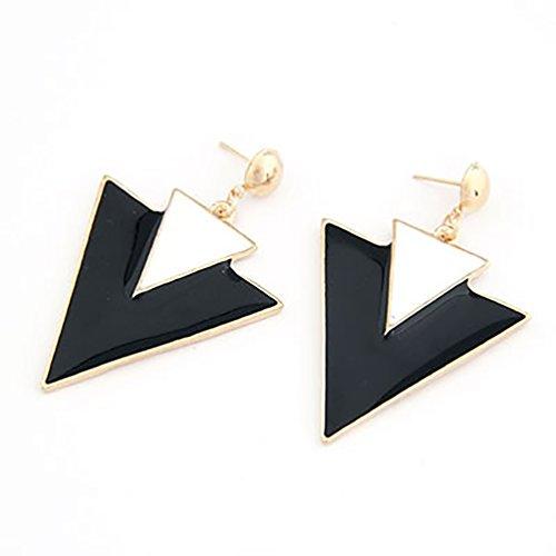Geometrischer Fashion Retro Ohrring Ohrstecker Ohrhänger Dreieck Dreieckohrring schwarz weiß in Gold-Optik von DesiDo® (70er Jahre Beste Outfits)