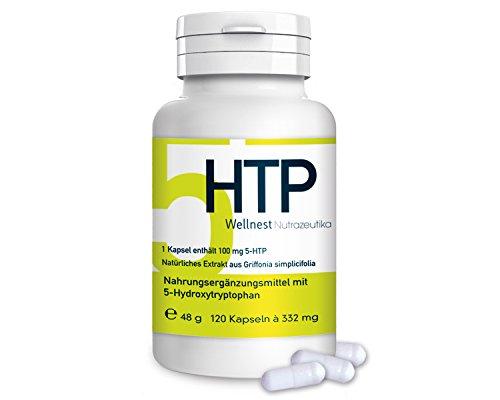 Ergänzung Behandeln (Wellnest 5-HTP hochdosiert (98%)   Griffonia Simpicifolia Extrakt   120 vegetarische Kapseln   Hergestellt in Deutschland)