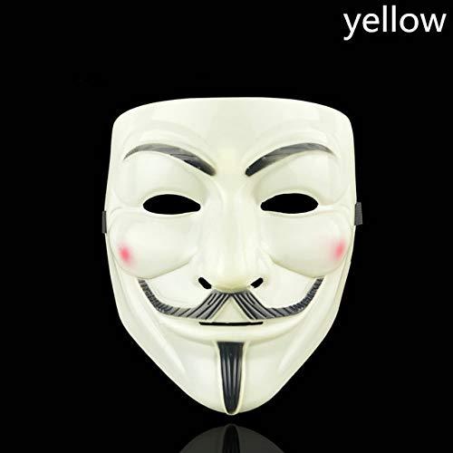 WSJDE Halloween Party Maske 1 Teile/Satz V wie Vendetta Maske Bape Vollgesichtsmaske Anonym Guy Fawkes Kostüm Zubehör, QGelb (Yellow King Kostüm)