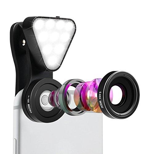 Fisheye Objektiv Clip-On Kamera Adapter,SGODDE 3 in 1 Phone lens handy Objektiv Set Fischauge Objektiv für Smartphones (mit LED-Beleuchtung, 15x Macro Objektiv, 0,4-0.6x Weitwinkelobjektive)