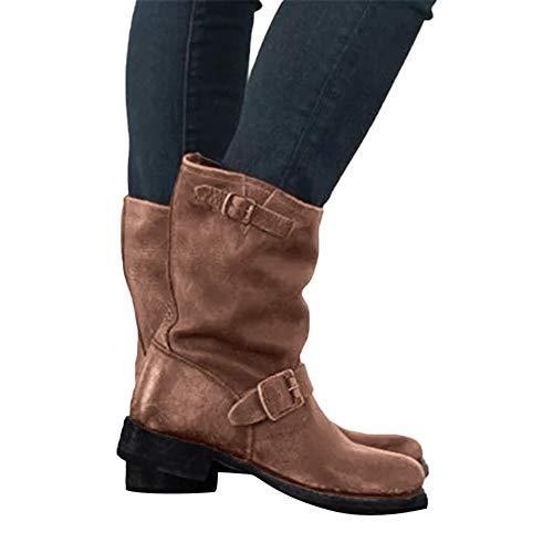 TianWlio Stiefel Frauen Herbst Winter Schuhe Stiefeletten Boots Mode Mittlere Militärische Stiefel Schnalle Kunstleder Patchwork Schuhe Braun 36