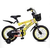 Bicicletas Bicicleta for niños Amortiguador Bicicleta for niños Silla de Paseo for niños Bicicleta de 2 a 10 años (Color : Yellow, Size : 18 Inches)