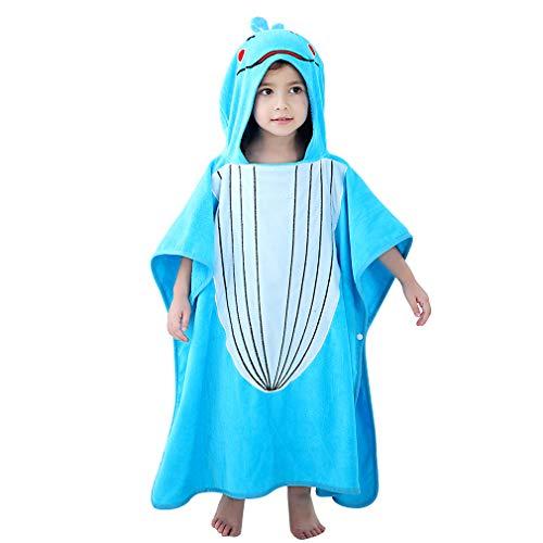 Zwei Tier-handtuch (MICHLEY Baby Kapuzenbadetuch Kinder BadePoncho Mädchen Bademantel 70x70cm Baumwolle Tier Badetücher fit für 2-6 Jahre(Blauwal))