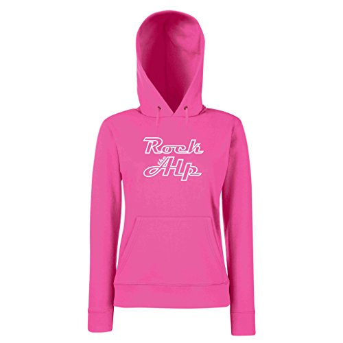 Damen Hoodie -- Rock the Alp fuchsia-weiss