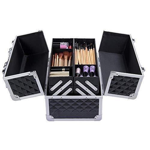 Yaheetech Beauty Case Alu Kosmetikkoffer schwarz Friseurkoffer Transportkoffer Etagenkoffer Nagel Koffer
