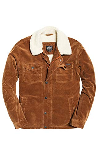Superdry Herren Hacienda Chore Coat Mantel, Braun (Tan Cord Uo1), Small -