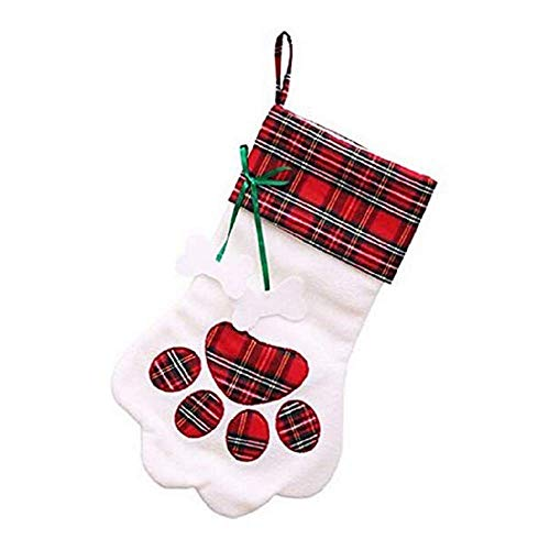(QYL Set Von 2 Haustier Weihnachts-Stocking, Dog Paw Cat Paw Plush Plaid Hängepartien Für Xmas Tree Decor Home Ornaments,Red)