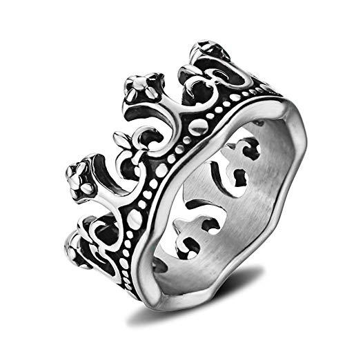 König Kostüm Uhr - XNCBM Schmuck Edelstahlmens Weinlese königlicher König Crown Ring Silber Farben Kostüm Zusatz