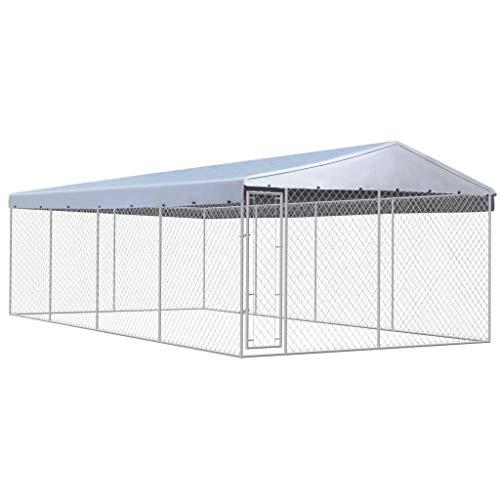 WT Trade Premium XXL Hundezwinger für Draußen mit Dach und Tür | 8x4m | Hundehütte Hundekäfig Sonnendach Hundehaus Hütte | außen Auslauf