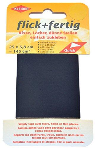Kleiber 145 cm² Flick + Fertig Selbstklebendes Reparaturband aus Nylon, schwarz (Klebeband Stoff)