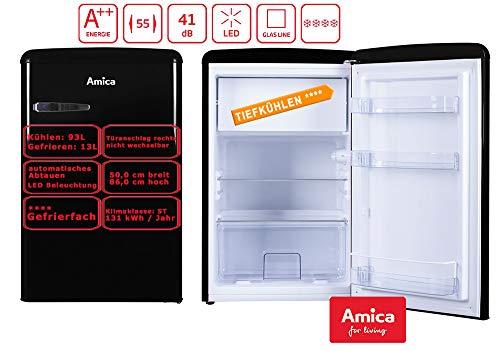 Amica Retro Kühlschrank Schwarz KS 15614 S A++ 106 Liter mit Gefrierfach Standgerät Black
