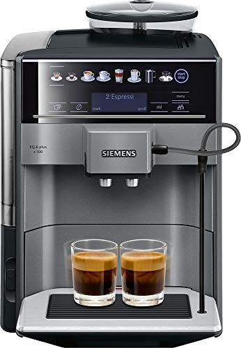 Siemens TE651509DE EQ.6 plus s100 Kaffeevollautomat (konstante Brühtemperatur, Dampf-Reinigung, Doppeltassen-Funktion, 1.500 Watt) metallic