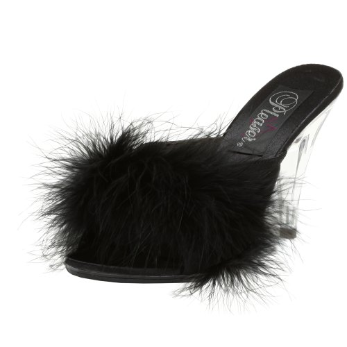 Pleaser, Sandali donna Blk Satin-Fur/Clr