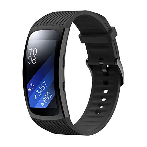 WAOTIER für Samsung Gear Fit 2 Pro Armband Silikon Armband mit Streifen Muster Ersatzband für Samsung Fit Gear 2 Pro/Gear 2 Armband mit Edelstahl Verschluss Wasserdichter Sommer Armband (Schwarz) -