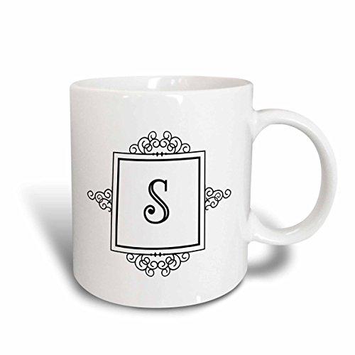 """3dRose 154342_6 Tasse mit Initial-Buchstabe S, persönlich, Monogramm, Schwarz/Weiß, Typografie Elegant Stil"""", zweifarbig, Blau, 325 ml"""