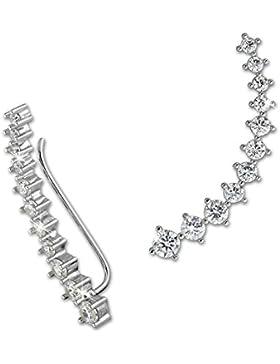 SilberDream Damen Ohrringe Ear Cuff 11 Zirkonias Ohrringe Ohrklemme 925 Silber GSO415W