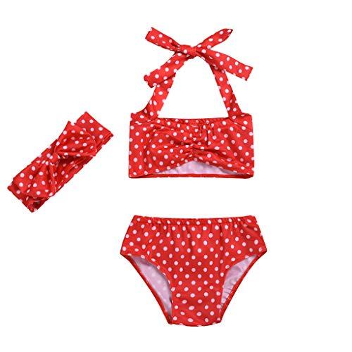 Conjunto de Trajes de baño de Dos Piezas para bebé niña bañador de Lunares Arco Rojo 6-12 Meses