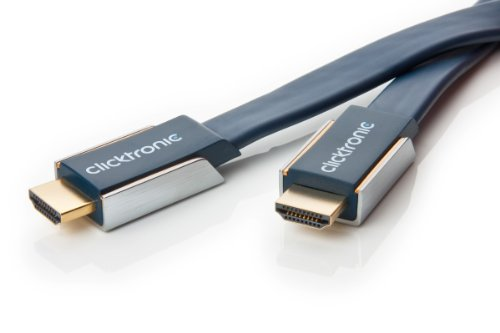 Clicktronic Advanced High Speed HDMI Flachkabel mit Ethernet (4K Ultra HD, 3D-TV, ARC, 5m) - Advanced High Speed Hdmi Kabel