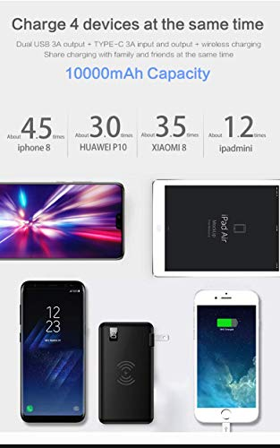 TIITAN Wireless Intelligent Charger,10000 mAh Portable Power Bank Detachable USB Wall Charger Multi-Protection Image 7