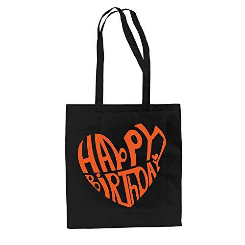 Buon Compleanno Design - Borsa In Juta Di Cotone Nero-arancio