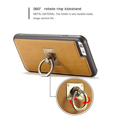 Wkae CaseMe Rückseiten-Fall, magnetische Wölbungs-Haltewinkel mit 360 drehender Finger-Ring-Standplatz TPU PC rückseitige Abdeckung für iPhone 6 Plus ( Color : Yellow ) Yellow