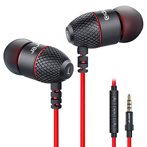Adorer EM10 Bass Kopfhörer In Ear Ohrhörer mit Mikrofon und Fernsteuerung für iPhone, iPad, Samsung, Smartphones, Tablets - Rot
