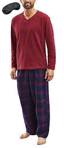 I-smalls - pigiama in pile, da uomo, caldo per l'inverno, con pantaloni a quadri newquay red x-large