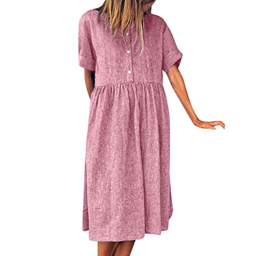 merkleid Strandkleid Casual Mini Overall Playsuit Kurzarm Strand Blumen Kleider Abendkleid Knielang Frauen Solid Dress Rundhals Kurzarm Loose Button Kleid ()