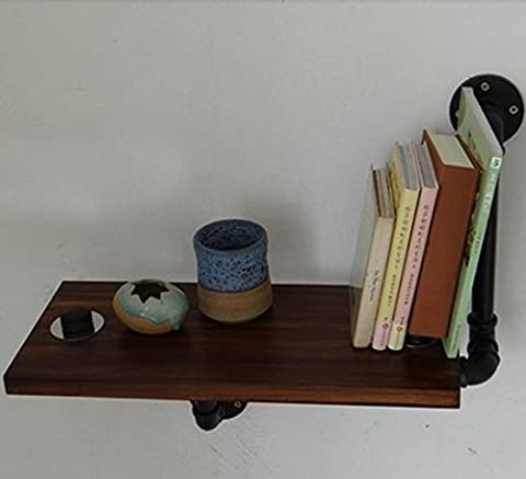 BLYC- Vintage industrial piping wrought-iron double suction-cup nail-free solid wood book shelf bathroom