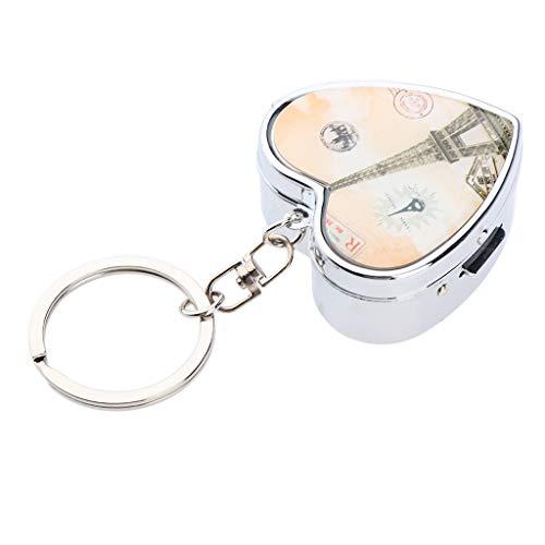 2 Fächer Metall Pillendose Pillenbox Tablettenbox Tablettendose Schlüsselanhänger