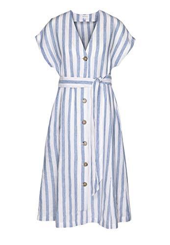 ARMEDANGELS Damen Kleid aus Bio-Leinen - SAALIKA Block Stripe - M Breeze Blue-Off White GOTS, Organic, CERES-08 (Kleid White Breeze)