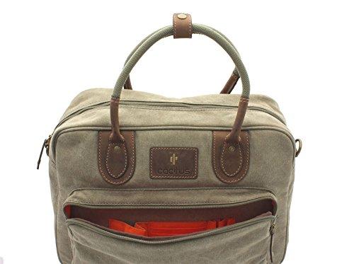 CACTUS Canvas e Distressed Leather oliato borsa da viaggio CT801_81 nero Cachi