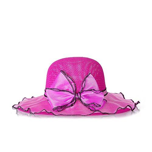 Damen Sonnenhut Wellenform Hüte Flexible Sommer Hüte Sonnenhut Strandhut mit Kleine Blumen-Rosa Rosa Softball-rucksack