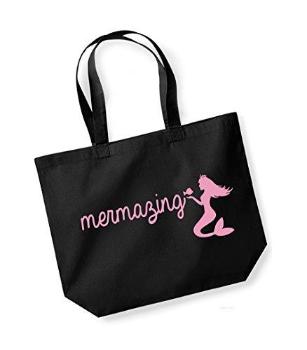 Kelham Print Mermazing - Large Canvas Fun Slogan Tote Bag (Black/Pink)