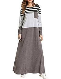 Zhhlaixing Casual Longues Gris Stripe Couture Femmes Robes Moyen-Orient Islamique  Turc Longue Robe Maxi de9a2c23eb2