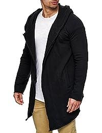 Sublevel Herren Long-Cardigan mit Eingriff-Taschen Oversize Sweatjacke mit Kapuze Strickjacke 20502 Schwarz S M L XL XXL