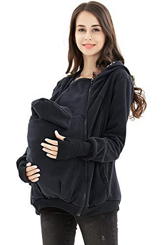 AIYUE 3 in 1 Tragejacke Umstandsjacke Mama Kängurujacke aus Fleece Tragepullove für Babytrage, Dunkelblau, M