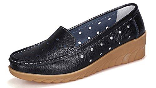 NEWZCERS Femmes confortable creux sculpter occasionnels en cuir conduisant mocassins chaussures bas wedge moccasin chaussures Noir