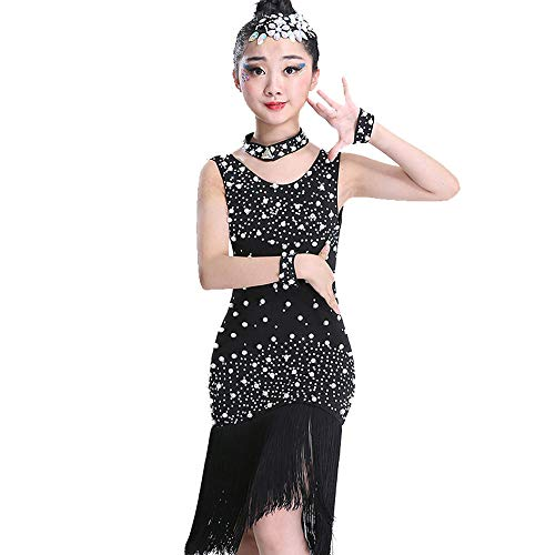 MARXHOT Girls Black Latin Ballroom Party Tassel Flash Diamond Dance Dresss Samba Tango Leotard Dance Kostüme Stage Performance Dancewear for Kids 2-15 Jahre,140CM