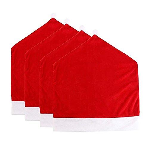 Hukitech 4er Set Weihnachtsmann Mütze Stuhl Abdeckung Stuhlhussen Stuhlüberzug Weihnachtsdeko - Maße 50 x 60 cm