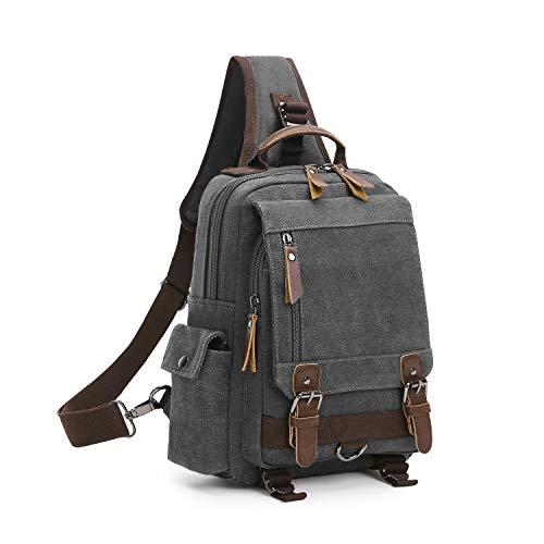 Wind Took Canvas Sling Rucksack Crossbody bag Brusttasche Outdoor Daypack Vintage Schultertasche Unisex Umhängetasche für Herren Damen, Grau