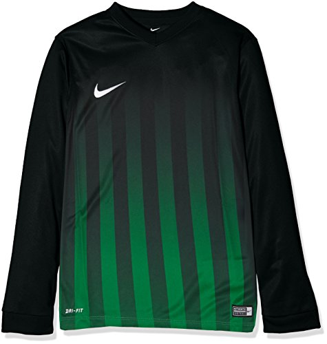 Nike Kinder Striped Division II LS Jersey Youth Trikot, Black/Pine Green/White, L Preisvergleich