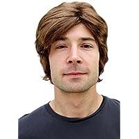 Perruque pour homme, brune, courte, avec raie de côté. PW0174-P6