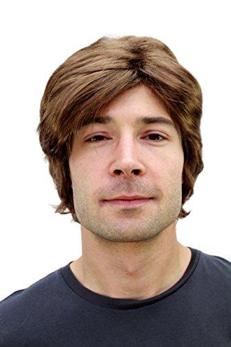 WIG ME UP PW0174-P6 - Peluca marrón para hombre con raya a un lado y pelo corto