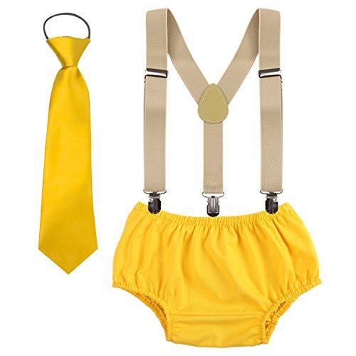 OBEEII Baby 1. / 2. Geburtstag Outfit Neugeborenen Kinder Bloomer Shorts + Krawatte + Clip-on Hosenträger 3pcs Bekleidungssets für Foto-Shooting Kostüm für Unisex Säugling Jungen Mädchen 3-24 Monate